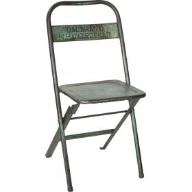 Green metal folding stool