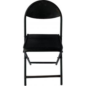 Čierna kovová skladacia stolička