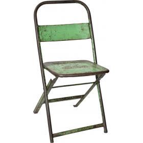Svetlo zelená kovová skladacia stolička