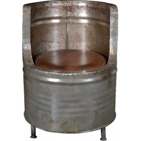 Barrel-shaped chair with leather seat