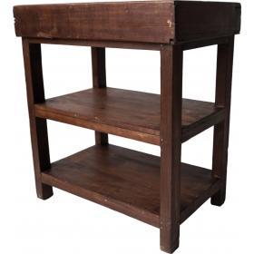 Holzregal mit 2 Fächern und oben 2 Aufteilungen