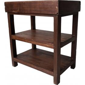 Wooden rack with 2 compartments at the top