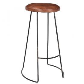 Barová elegantná stolička s koženým sedákom