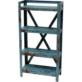 Modrý železný regál