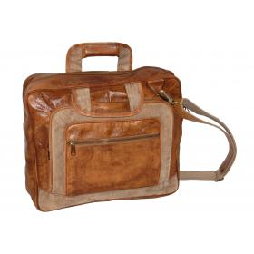 Rustic shoulder bag in leather and canvas