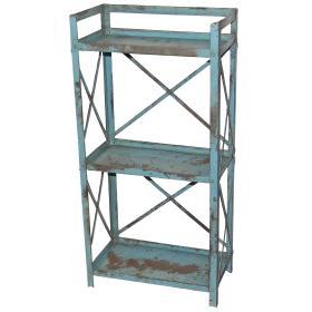 Modrý kovový regál