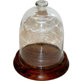 Sklenený zvon s dreveným...
