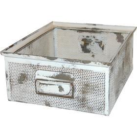 Kovový box  - starožitná biela