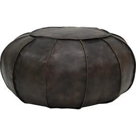 Guľatý kožený puf Gustav