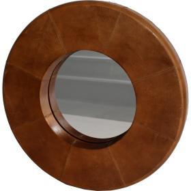 Okrúhle zrkadlo s koženým...