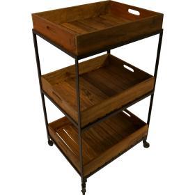 Vozíkový stôl s 3 drevenými...
