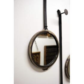 Kruhové zrkadlo s koženou...