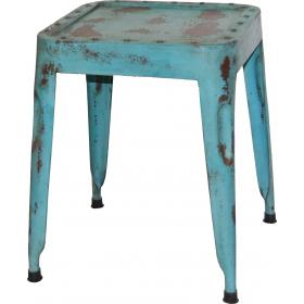 Cool stool in iron - distressed blue