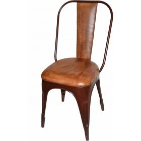 Cool cushioned chair with antique rusty base and leather