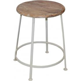 Iron stool - antique white