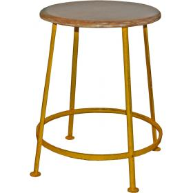 Iron stool - antique yellow