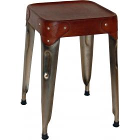 Iron stool with leather seat