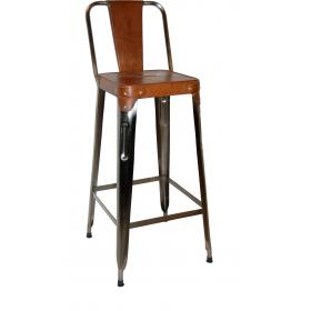 Bar stool in iron and leather - antique zinc