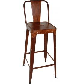 Bar stool in iron and leather - rusty