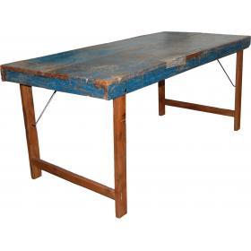 Pôvodný jedálenský stôl s modrou patinou