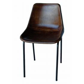 Shell chair with leather