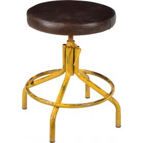 Stool with leather seat
